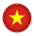 round metallic flag of vietnam with screw holes vector image