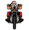 santa claus ride classic chopper motorcycle vector image vector image