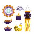 set diwali hindu festival decoration culture vector image