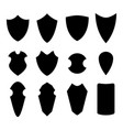 set of shield in silhouette style vector image vector image