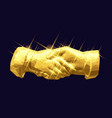 shaking hands golden low poly design vector image