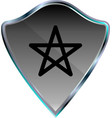 silver metallic shield icon with star vector image