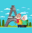 smiling old couple doing selfie in paris vector image