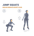 squats and jumps muslim woman in sporty hijab vector image