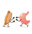 stomach and hot dog fighting vector image vector image