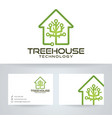 tree house technology logo design vector image