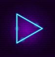triangle arrow neon sign vector image vector image