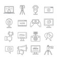 vlog video channel logo icons set outline style vector image