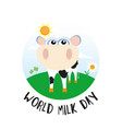 world milk day design with cow vector image