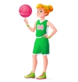 young redhead basketball player girl vector image vector image