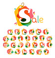 alphabet with sale tag icon watercolor overlay vector image vector image