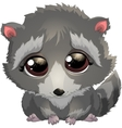 beautiful gray raccoon vector image vector image