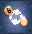 bitcoin exchange icon digital crypto currency vector image