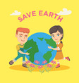 caucasian boy and girl hugging the earth planet vector image vector image