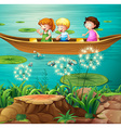 Children rowing boat in pond vector image vector image