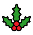 christmas holiday mistletoe with red berries and vector image vector image