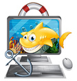 Computer screen with yellow shark vector image vector image