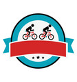 cycling sport emblem icon vector image vector image