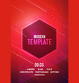 dance party poster with geometric shapes in red vector image vector image