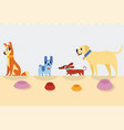 different cartoon dogs with bowls vector image vector image