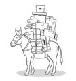 donkey loaded parcels coloring vector image vector image