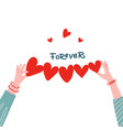 female hands holding paper shape heart row vector image