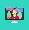 flat cartoon girl in headset chatting talking on vector image