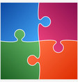 four color piece puzzle vector image vector image