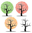 four trees with green red yellow leaves vector image vector image