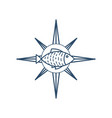 fresh seafood emblem vector image vector image