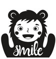 funny with cute child in bear costume and word vector image