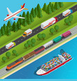 global logistics network flat isometric vector image vector image