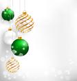 Green spiral christmas balls hang on white vector image vector image