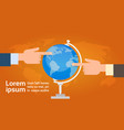 hands group point finger on globe travel vector image
