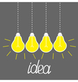 Hanging yellow light bulbs Idea concept Grey vector image vector image