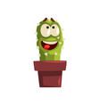 happy smiling cactus character in a clay pot vector image