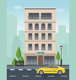 hotel building and taxi service vector image