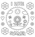i love summer coloring page black and white vector image vector image