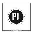 initial letter pl logo template design vector image