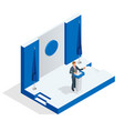 isometric public orator speaking from tribune vector image vector image