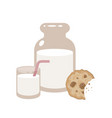 jar and a glass of milk with cookies vector image