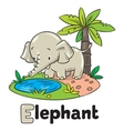 Little funny elephant or jumbo Alphabet E vector image