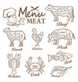 meat menu set butcher shop labels vector image vector image