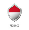 monaco flag on metal shiny shield vector image