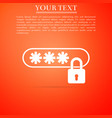 password protection icon on orange background vector image vector image