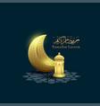 ramadan kareem with moon and lantern background vector image vector image