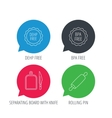 Rolling pin separating board and knife icons vector image