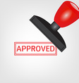 Rubber stamp with approved vector image vector image