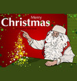 santa claus and magic christmas tree vector image vector image
