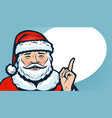santa claus index finger banner christmas vector image vector image